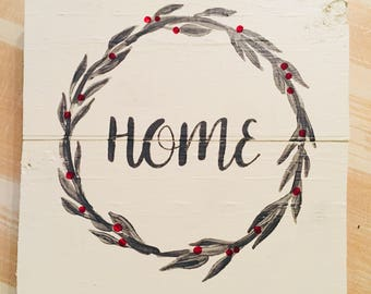 Home Plaque with Wreath Accent & Berries