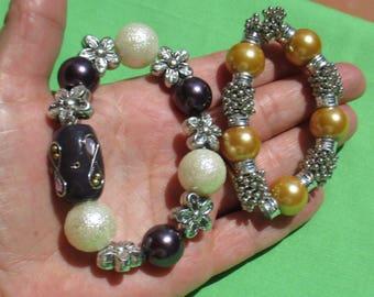 Lot Of Retro Beaded Stretch Bracelets Restring Repurpose