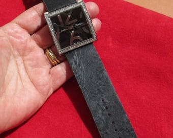 Retro Geneva Square Chunky Rhinestone Ladies Non Working Wrist Watch Repair Repurpose