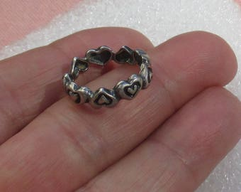 Retro Heart Shaped Band Ring Marked Sterling