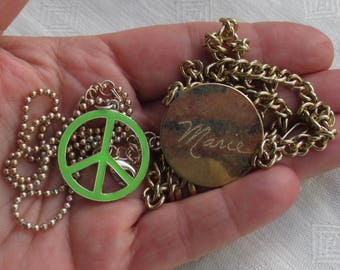 Lot Of Retro Chain Necklaces Green Peace Sign Engraved Marie TLC