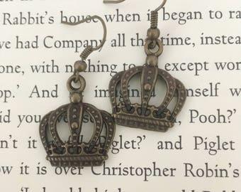 Royal crown earrings in antique bronze