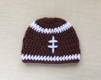 Football baby hat Boy Newborn football hat Baby boy hat Crochet newborn hat for Boy Newborn photo prop Baby football beanie Newborn boy hat