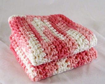Pink Dish Towels, Pink Cotton Washcloth, Pink Washcloth Spa Set, Pink Facial Cloths