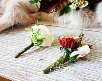 Autumn boutonniere Rose buds Dahlia Buds Heather groom groomsmen Close up rose wedding party  simple buttonhole groom accessories lapel pin