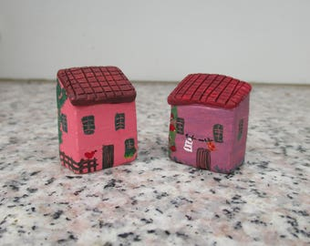 2 Small Ceramic Houses,Acrylic Paint,Small Pottery Italian House,Little Clay House,Pink,Violet,Tuscan House,Rustic,Colorful house,Cute House