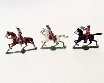 Vintage Lead Flat Figures, Soldiers on Horseback, Toy Miniature Flat Figures