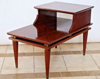 Gorgeous Mid Century Modern Brass Mahogany End Table three Tier top inlays Safe nationwide shipping available please call for rates