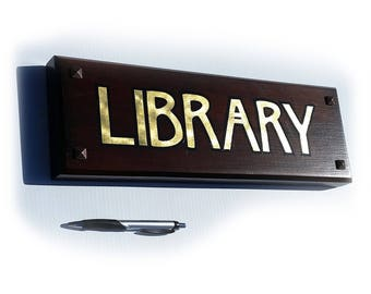 23k gold letters Mission Craftsman style Law Library or Any Library Sign