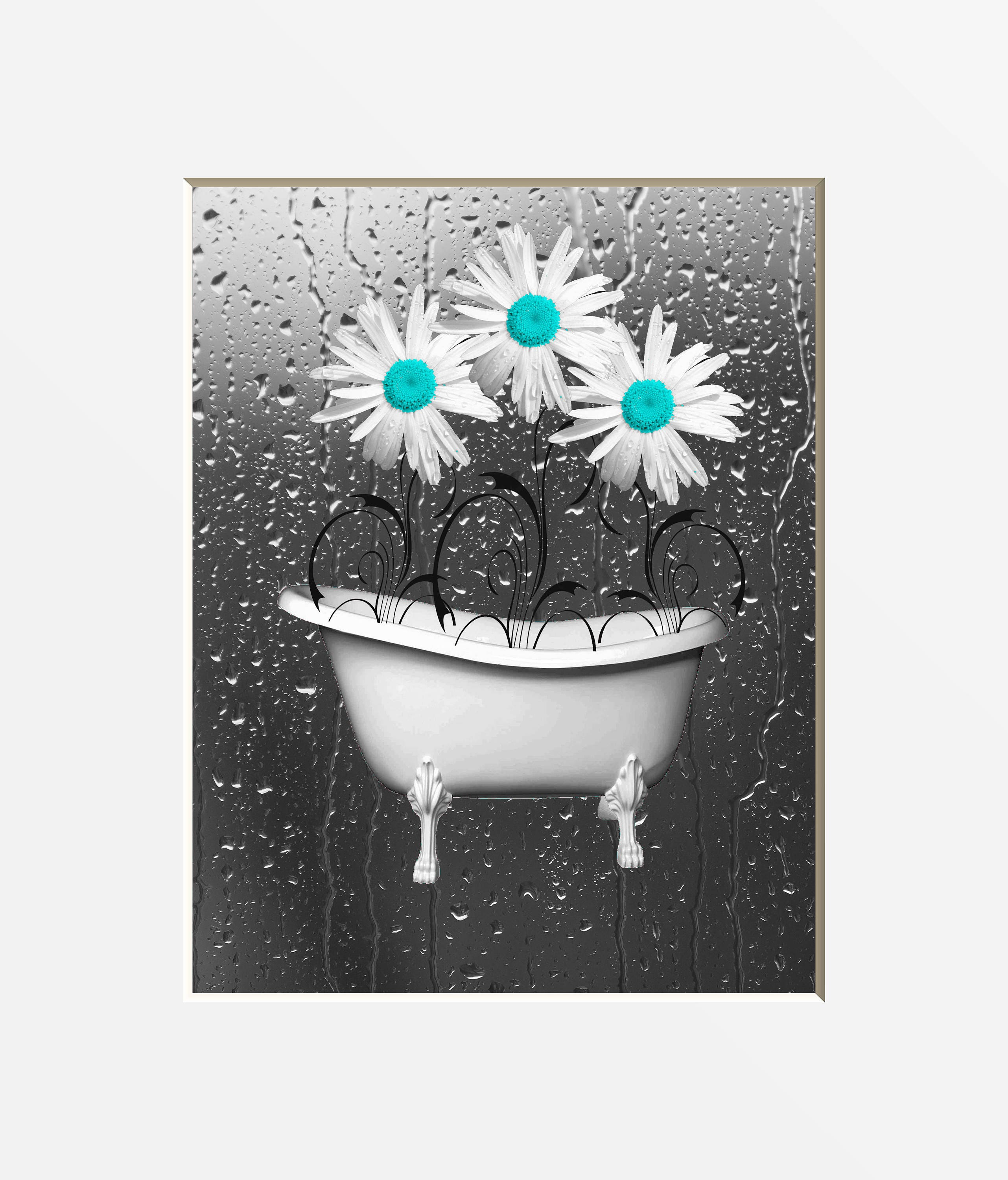 Teal Bathroom Wall Art Daisy Flowers Teal Gray Home Decor