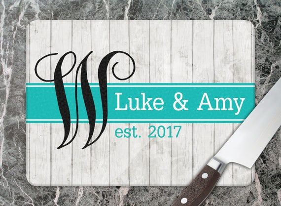 Personalized Glass Cutting Board Custom Monogrammed Gifts Unique Wedding Gift Ideas Housewarming Gift Monogram Wedding Gift Hostess Gift