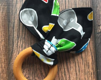 Science themed bunny ear teether for babies with organic maple ring, ready to ship!  Perfect for baby shower gifts and new moms! STEM gifts