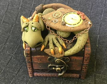 Polymer clay Steampunk Dragon