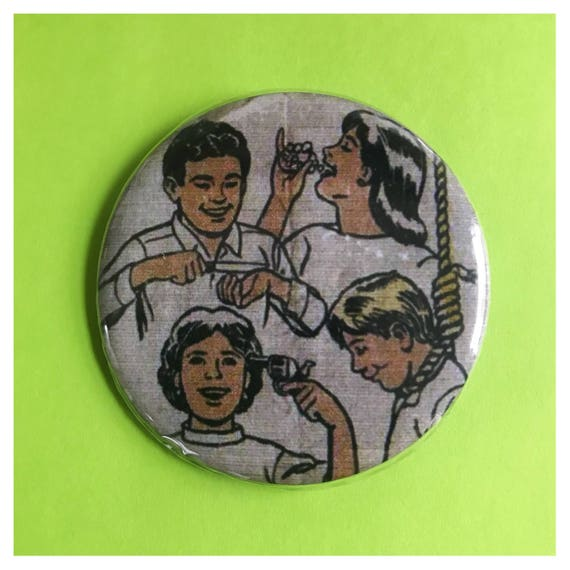 "2.25"" Pinback Button - KILL ME - Death Suicide Goth Dark Pills Cutting - Large Pinback Button Badge - Dad Day Kill Death Retro Style Button"