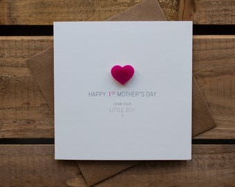 Happy 1st Mothers Day from your Little Boy Card with magnetic Love Heart Keepsake // Mother's Day // From Son // Magnet Card