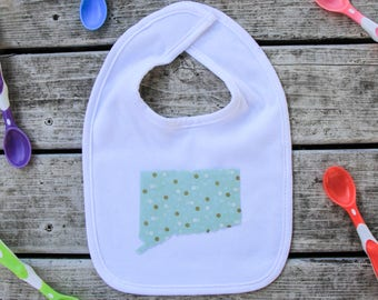 Connecticut Baby Bib - Baby Shower Gift - ANY State Available Upon Request