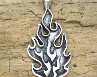 Flame Pendant, Fire Pendant, Silver  52x22mm Single-Sided Flat Back Flame Pendant, Jewelry Supplies, Item 113p