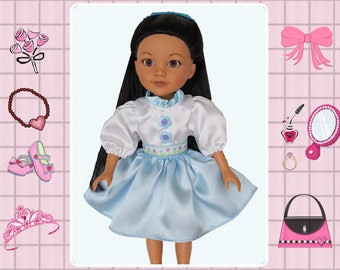 14 inch doll clothes / 14 in doll dress / Wellie Wishers / American Girl / Hearts 4 Hearts girls / blue doll dress