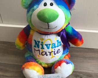 "Rainbow Birth Stat Bear ""Cubbyford"""