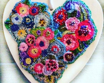 Hand embroidered Valentine heart hanging