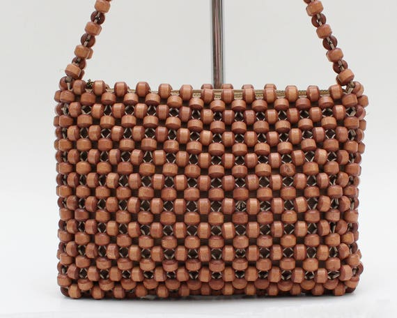 Vintage 1960s Wooden Bead Boho Handbag