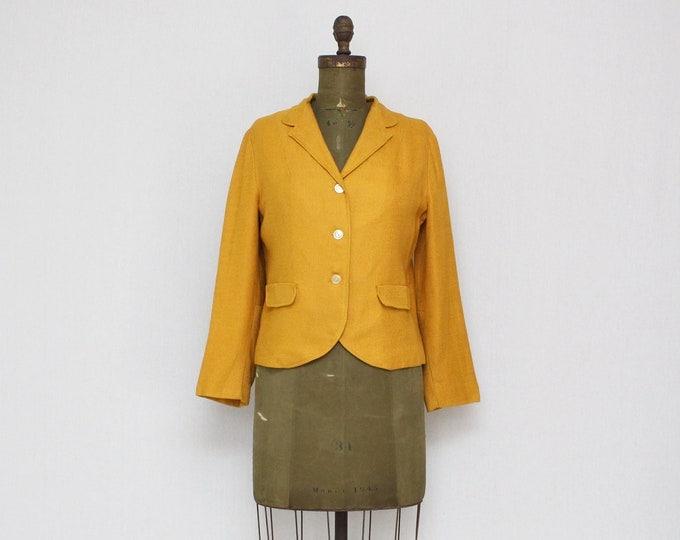 RESERVED - Vintage 1950s Mustard Yellow Blazer - Size Medium