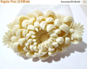 ON SALE Deeply Carved Mum Buckle Celluloid Intricate Japan Beige Faux Ivory Color Vintage