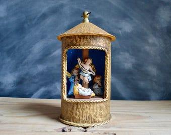 "Vintage Handmade Music Box plays ""Silent Night"" with Nativity Scene"
