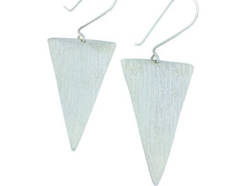 Silver Large Triangle Earrings