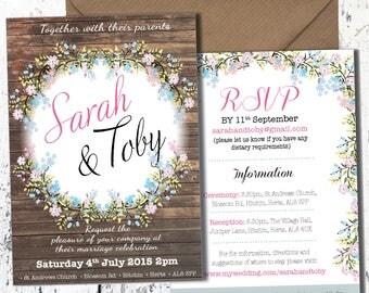 Personalised Floral Wedding Invitation