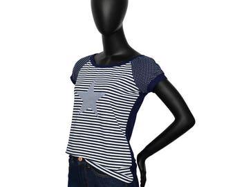 "Iza Fabian - shirt ""BLACK EDITION2 stripes star points blue"""