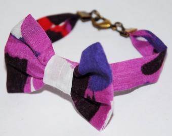 Bracelet knot 67 fuschia/purple geometric pattern