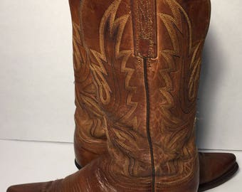 Lucchese 1883 Brown Leather Western Cowgirl Cowboy Boots Women's Size 7.5 B