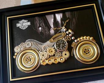 Harley Davidson model Code M 156, Men clothes, Vintage clocks, Steampunk Art, Tshirt design, Original artworks, Handmade art