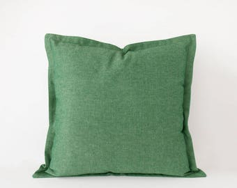 Green decorative pillow cover in 16x16 inches, 18x18 inches, 20x20 inches, 22x22 inches and more sizes, green lumbar cushion cover
