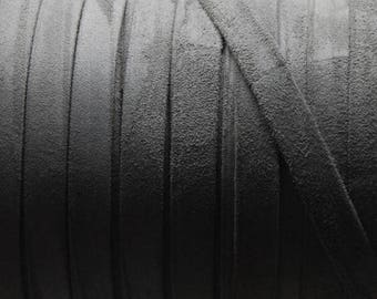 "Per 8"" Grey Suede  10mm Flat Cord,"