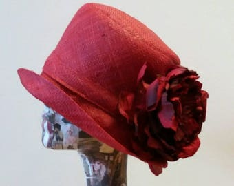 Red Raffia Cloche 20's Style Sun Hat with Red Velvet and Silk Peony
