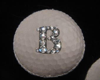 GOLF BALL Magnetic Pin Brooch-Custom Initial with Swarovski Crystals-Bling on the Links-Great Lady Golfer Gift