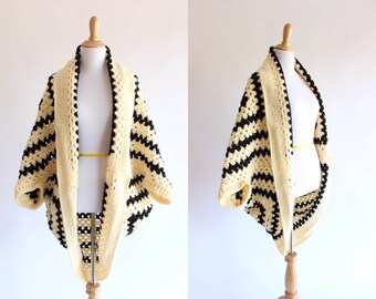 Vintage Black and Beige Cocoon Cardigan Hand Knit Afghan Sweater Women's Size Sm Md or Lg