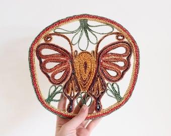 Vintage Wall Basket Trivet Woven Butterfly Basket Decorative Hanging Basket Boho Home Decor