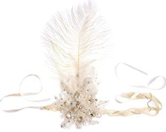 1920s Headpiece, Great Gatsby Headpiece, Flapper Headpiece, Gatsby Headband, Wedding Headband, Rhinestone Headband Headpiece with Feathers
