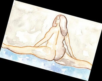 NUDE BODY POSITIVE erotica curvy woman nudes original watercolor painting best selling items art sexy erotic female nude lovely etsy etay