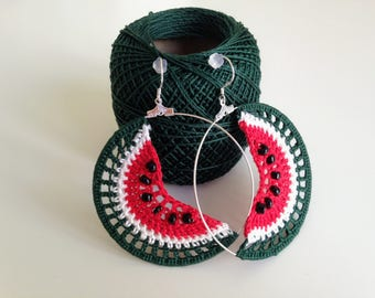 Watermelon Earrings, Fruit Earrings, Tropical Fruit, Hoop Earrings, Summer Jewelry, Crochet Earrings, Green Red White, Crochet Jewelry