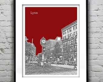 Lynn Massachusetts Skyline Poster Art Print MA Version 1