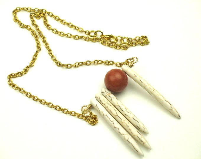 Bohemian Gold Chain Necklace with Wire Wrapped Pendant of Howlite Daggers and Natural Sponge Coral Bead