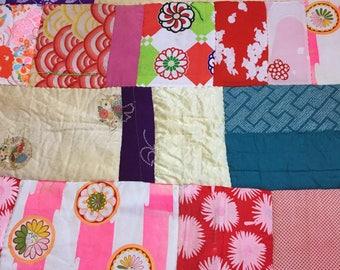 Patchwork quilt - vintage kimono fabrics - used kimono of vintage