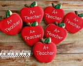 Teacher Appreciation Apples! Back to School, One dozen (12) Custom Decorated cookies