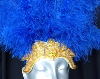 1 open face Feather  Royal Blue