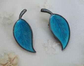 MEKA Guilloche Enamel Earrings Denmark -  Scandinavian Denmark Enameled Jewelry -  Vintage Sterling Silver Clip On