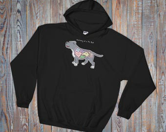 Anatomy of a Pit Bull - Funny Pit Bull Dog Hoodie - Dark Colors - Hooded Sweatshirt